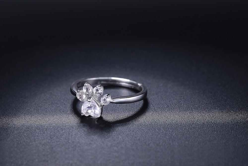 HTB1Hv4VEXuWBuNjSszbq6AS7FXaE LAMOON 925 Sterling Silver Ring For Women Bear Paw Rose Quartz Gemstone 18K Rose Gold Adjustable Ring Fine Jewelry RI027-2