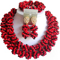 Popular Opaque Red Black Ladies Party and Festival Evening Crystal Necklace Earrings Sets 2C SJHQ 15
