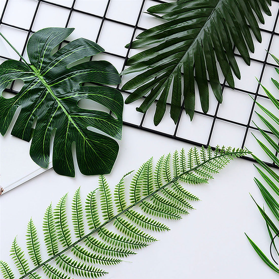 5 10 pcs Large Artificial Fake Monstera Palm Tree Leaves Green Plastic Leaf Wedding DIY Decoration Cheap Flowers Leaves Plant
