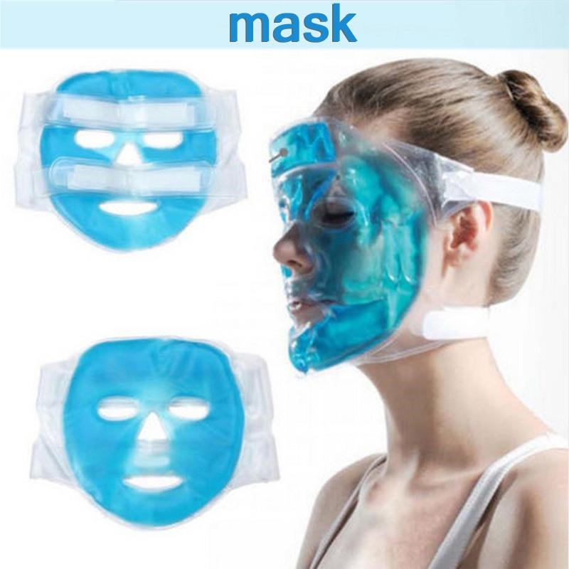 Cold Gel Face Mask Ice Compress Blue Full Face Cooling Mask Fatigue Relief Relaxation Pad With Cold Pack Faicial image
