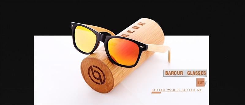 BARCUR Women Men Wooden Bamboo Sunglasses 11