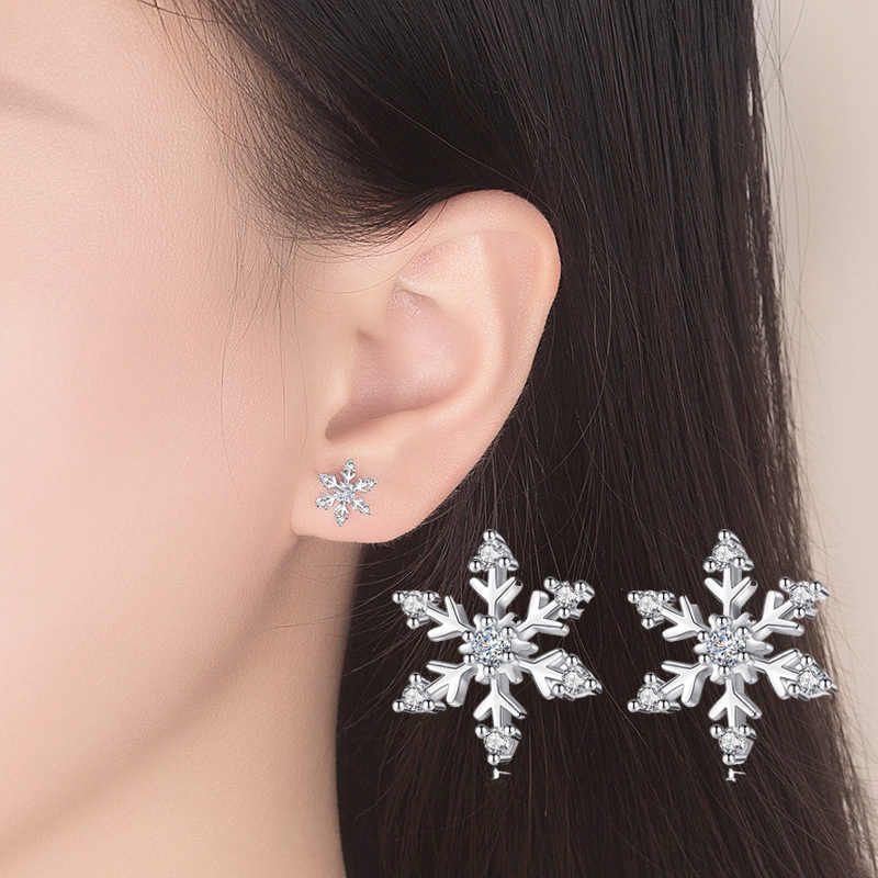New Design CZ Crystal Snowflake Stud Earrings for Women Small Cute 925 Sterling Silver Earrings Earings Fashion Jewelry Kolczyki