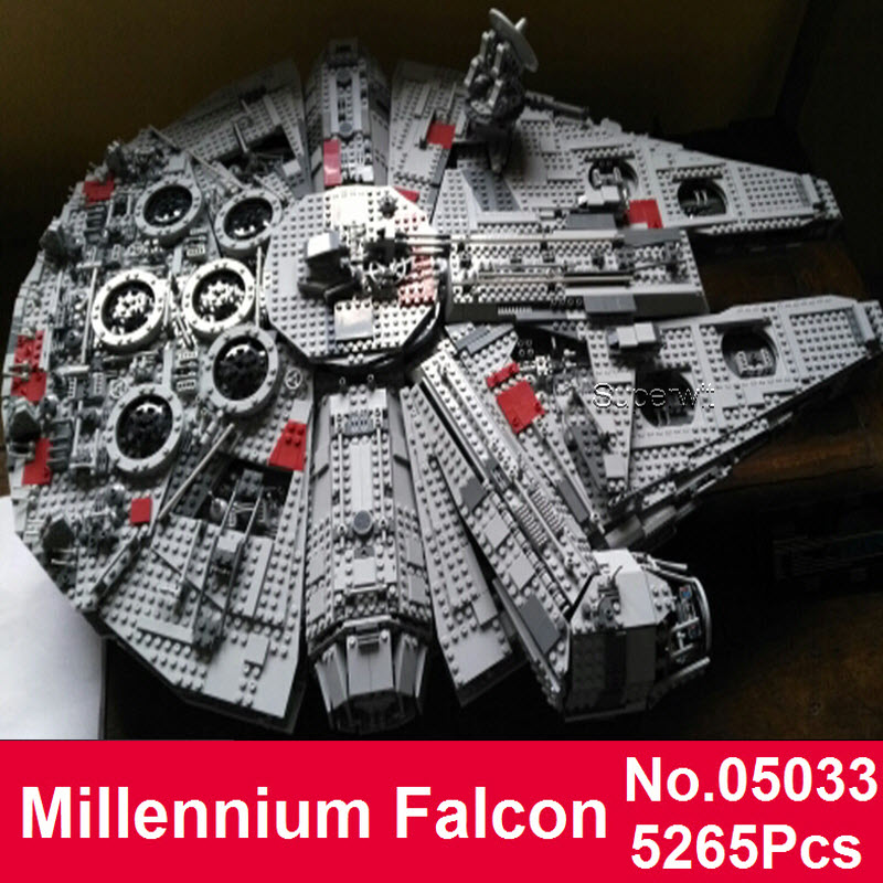 Superwit Star 05033 5265Pcs Ultimate Wars Collector's LEPIN Millennium Falcon Model Building Kit Blocks Bricks Compatible 10179 lepin 05033 5265pcs 05077 star ultimate wars collector s millennium falcon model building blocks bricks toys compatible 10179