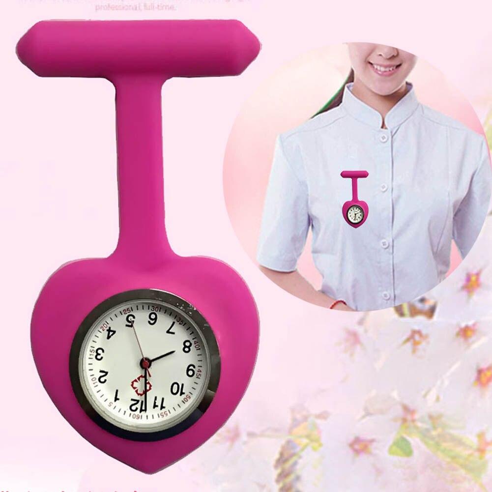 Silicone Nurse Love Heart Shape Watch Pocket Brooch Clip Medical Nurse Pocket Nursing Watch TT@88