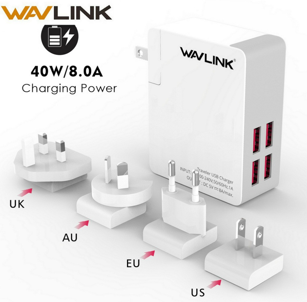 Wavlink Traveler USB charger 4 Port Charger Adapter 8A with Replaceable EUUSAUUK Plug Mobile Phone Universal portable charger