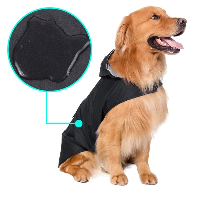 Pet Large Dogs Raincoat Out Door Walking Waterproof Detachable Rain Cover Water Protection Big Dog Clothes Golden 3XL-5XL