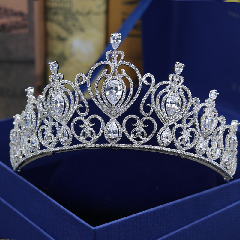Luxury AAA cubic zirconia Baroque Queen King big couronne brilliant fully jewelled pave wedding hair accessories