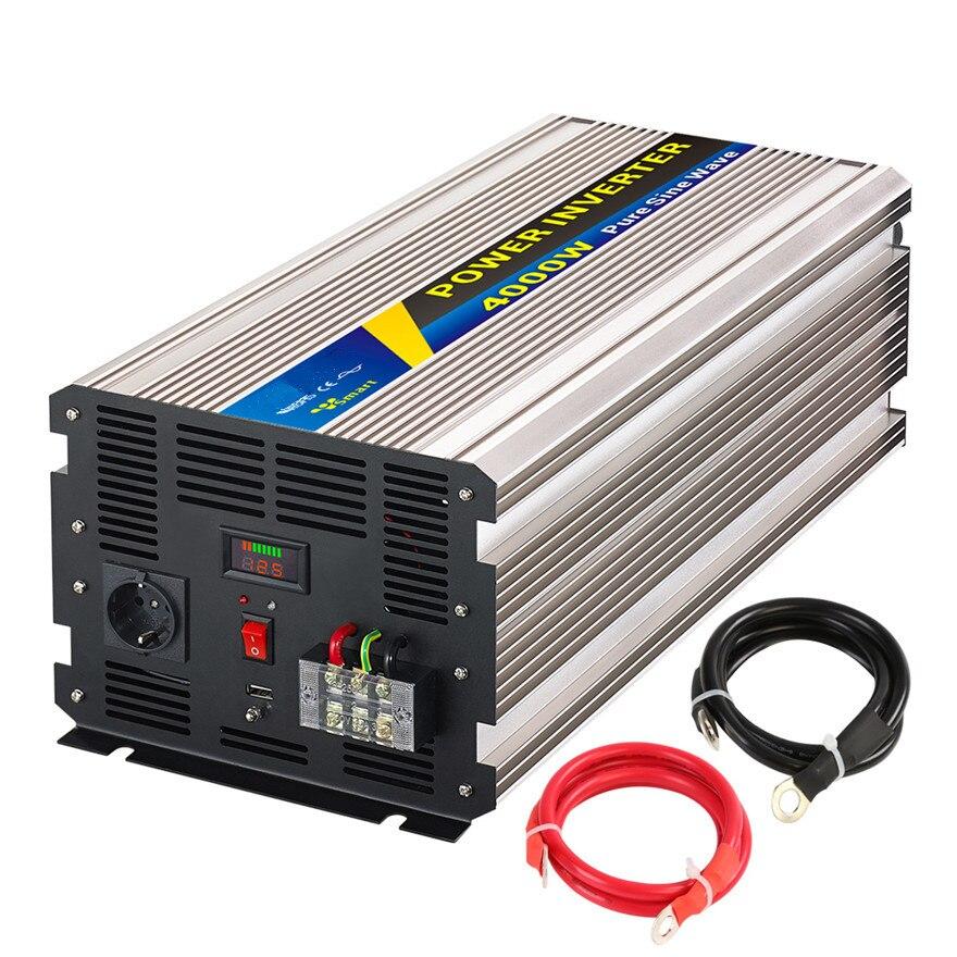 Pure sine wave Power Inverter 4000W peak 8000W dc to ac Input 24V 48v to 110 220V 50HZ CE universal socket off inverter 48v