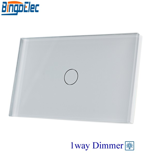 Bingoelec US/AU Standard 700W 1gang1way Light Dimmer Switch for Dimmable Light ,White Glass Panel Wall Switch,110-220V. us au standard lamps dimmer remote switch 1gang1way white crystal glass panel wall remote light dimmer touch sensor switches