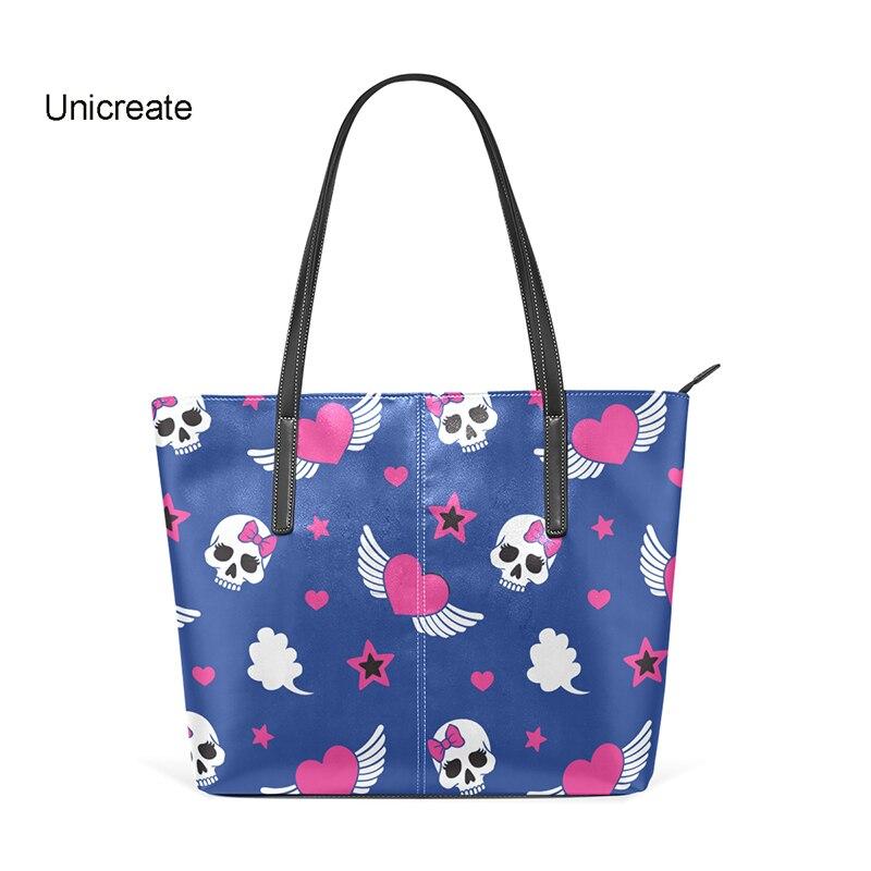 Women Shoulder Bag Tote Bag Handbag Girls Leather Tote Bag Large Capacity Sugar Skull Shoulder Bag Fashion Lady Purses Navy Blue iridescent tote bag