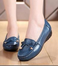 Fashion women shoes genuine leather soft bottom flat shoes big yards cozy pregnant women shoes 41-43 loafers Ballet Flats
