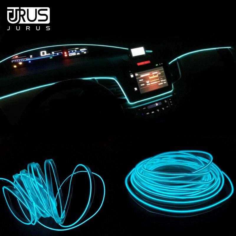 JURUS 5M Car Interior Light Ambient Lights Car El Cold Neon Light Wire Line Dashboard Led Strip 12V Cigarette Lighter Inverter