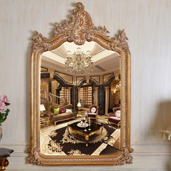 Refined Wood Carving Mirror European Style Luxury Decor