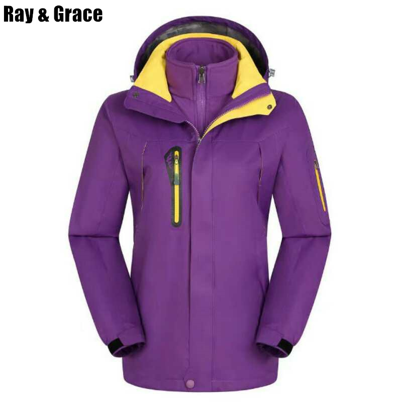 RAY GRACE Winter Outdoor Hiking Jacket Waterproof Woman Man Mountain Climbing Camping Travel Outerwear Women 2 Pieces Suits Men  blog flashlight outdoor 5led pocket strong waterproof 8 hours to illuminate mountain climbing camping p004
