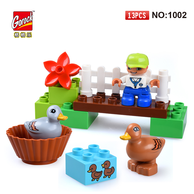 GOROCK 1002 Big Building Block Set children Educational Bricks Toys 13Pcs For Birthday Gifts Toy For Baby Compatible With Duploe 81pcs set assemblled gear block montessori educational toy plastic building blocks toy for children fun block board game toy
