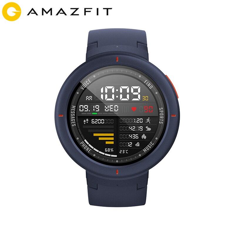 Huami Amazônia Beira Inglês Versão Esporte Smartwatch GPS Bluetooth Reprodução de Música Chamada Resposta Mensagem Push Inteligente Monitor de Freqüência Cardíaca
