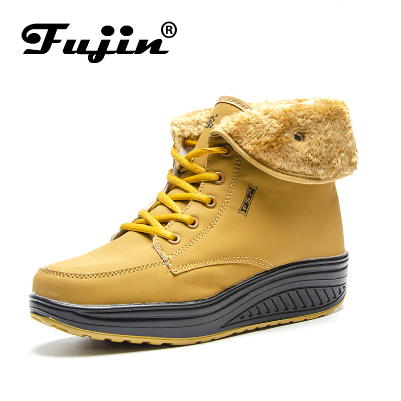 Fujin Brand 2018 Lace Up Platform Leather Pu Winter Plush High Shoes for Women Soft Sole Boots Ankle Botas Female Lady Snow Boot