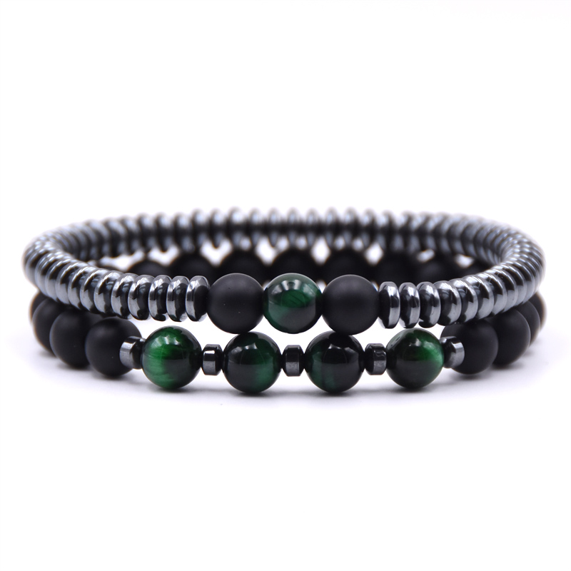 Kang hua 2 pieces set 6mm Hematite Round slice 8mm Matte Black stone bead bracelet and colorful beads bracelets charm gift in Strand Bracelets from Jewelry Accessories