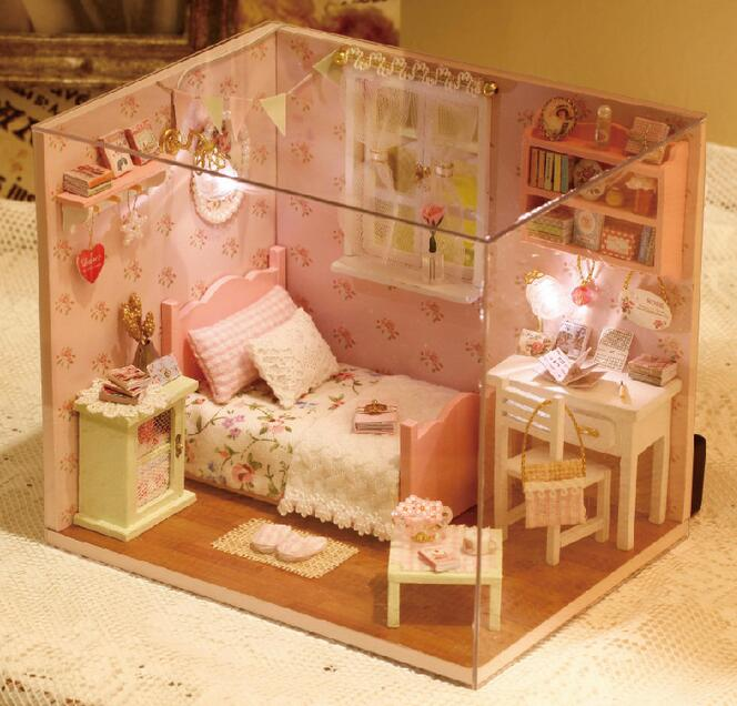 <font><b>H002</b></font> Doll House Furniture Diy Miniature pink girls bedroom Dust Cover 3D Wooden Miniaturas Puzzle Dollhouse For Gifts Toys image