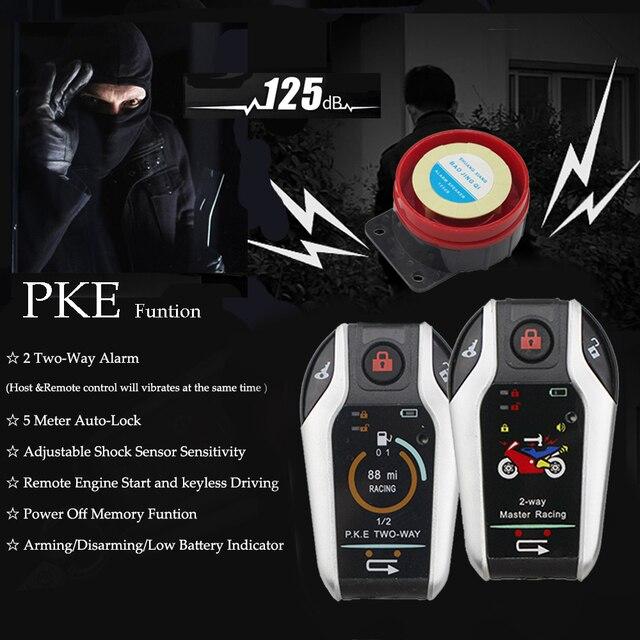 2 双方向オートバイ警報装置盗難防止システムスクーター強盗振動警報リモートエンジンスタート 5 メーター自動ロック