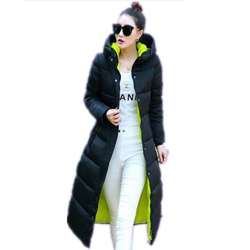 Parkas  2016 Winter New Fashion Long Coat Slim Thickened Turtleneck Warm Jacket Cotton Padded Zipper Plus Size Outwear Casacos 4 Colors