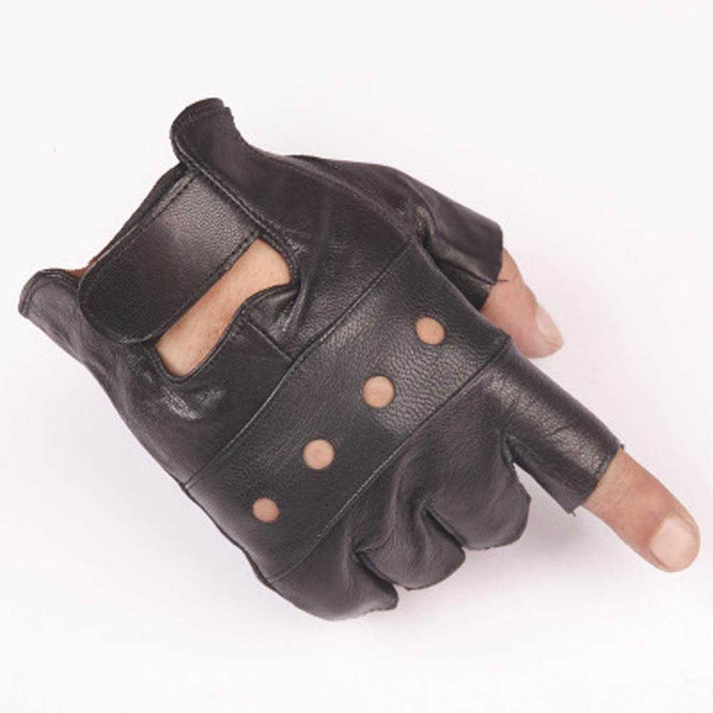 2019 Fashion Half Finger Gloves Leather Biker Driving Gloves For Men Black Summer Gothic Punk Style Fingerless Gloves