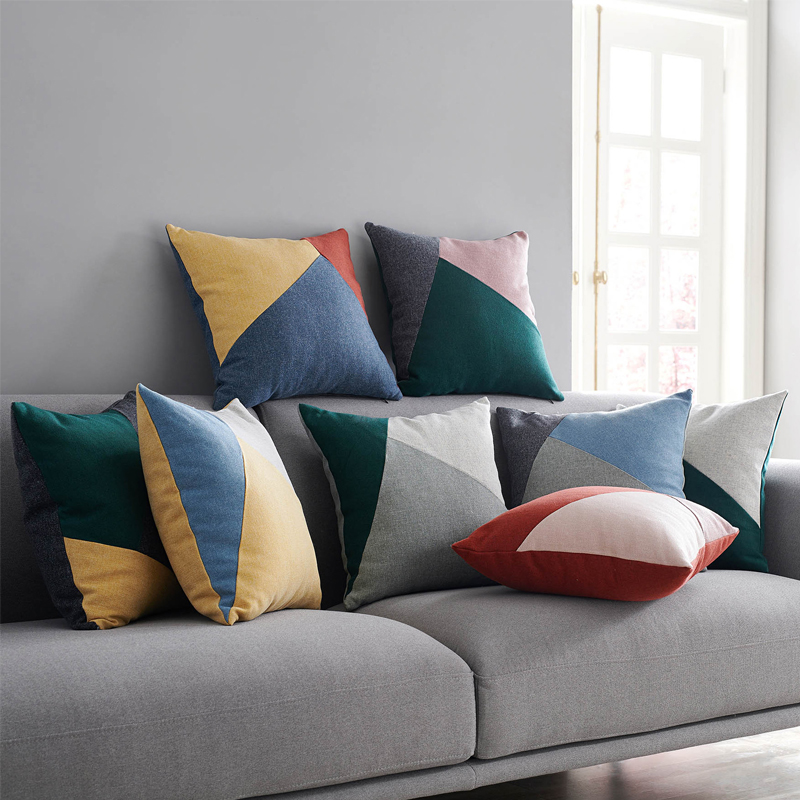 Geometric Patchwork Color Cushion Cover Nordic Style Solid Color Pillow Cover Case Sofa Chair Home Decor Without Stuffing