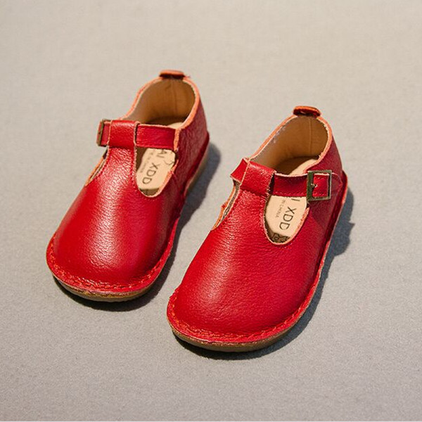 Brand New 2018 Autumn Girls British Style T-bar Shoes Genuine Leather Baby Girls Solid T-strape comfort Shoes Kids Flat Shoes