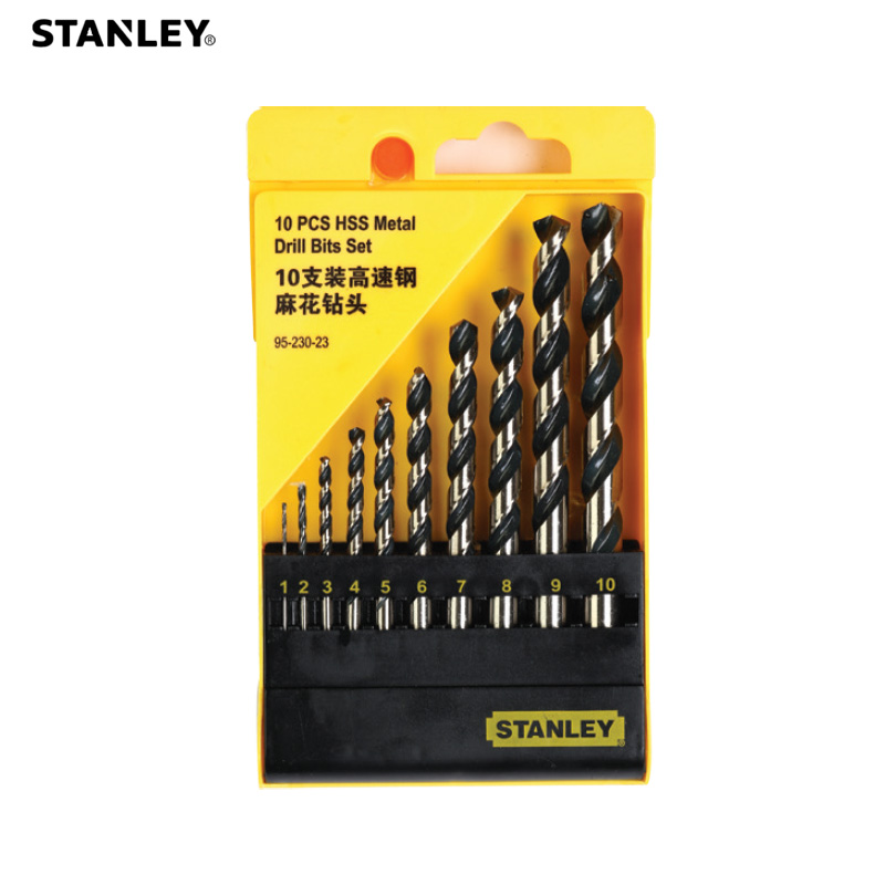 Stanley 10pcs multi-purpose self centering drill bits combination set 1mm to 10mm steel wood hole HSS twist drills multi-bit kit
