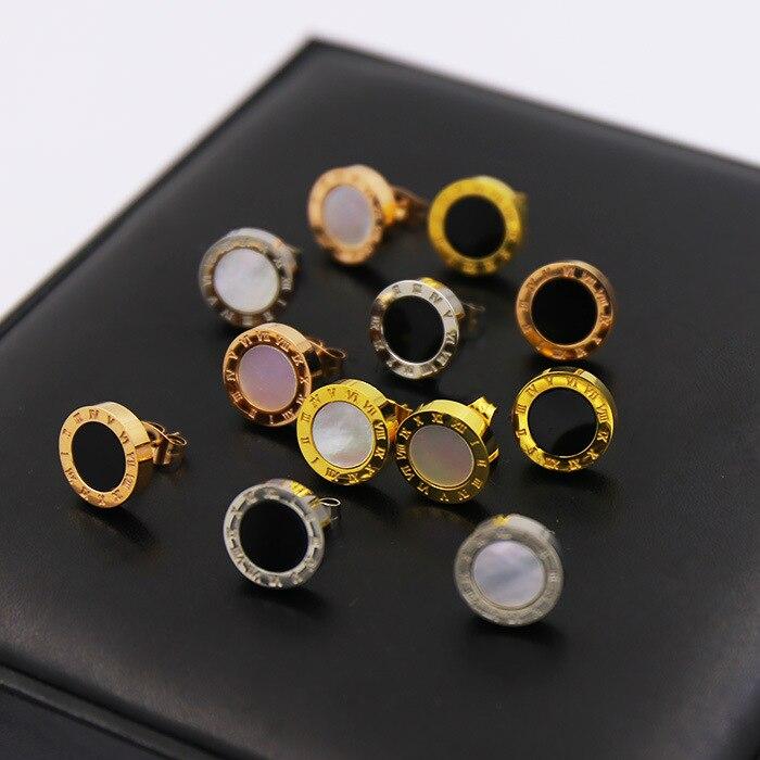 Steel-Earrings Shell Bulgaria Anti-Allergy Jewelry Crystal Black Titanium Women Fashion
