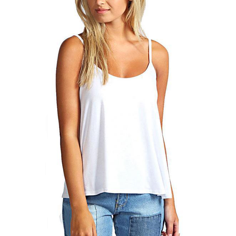 White Women Camis 2018 Summer Top Solid Color Vest Sexy Tops Tees Casual Irregular Hem Sleeveless Tank Tops Cropped Feminino