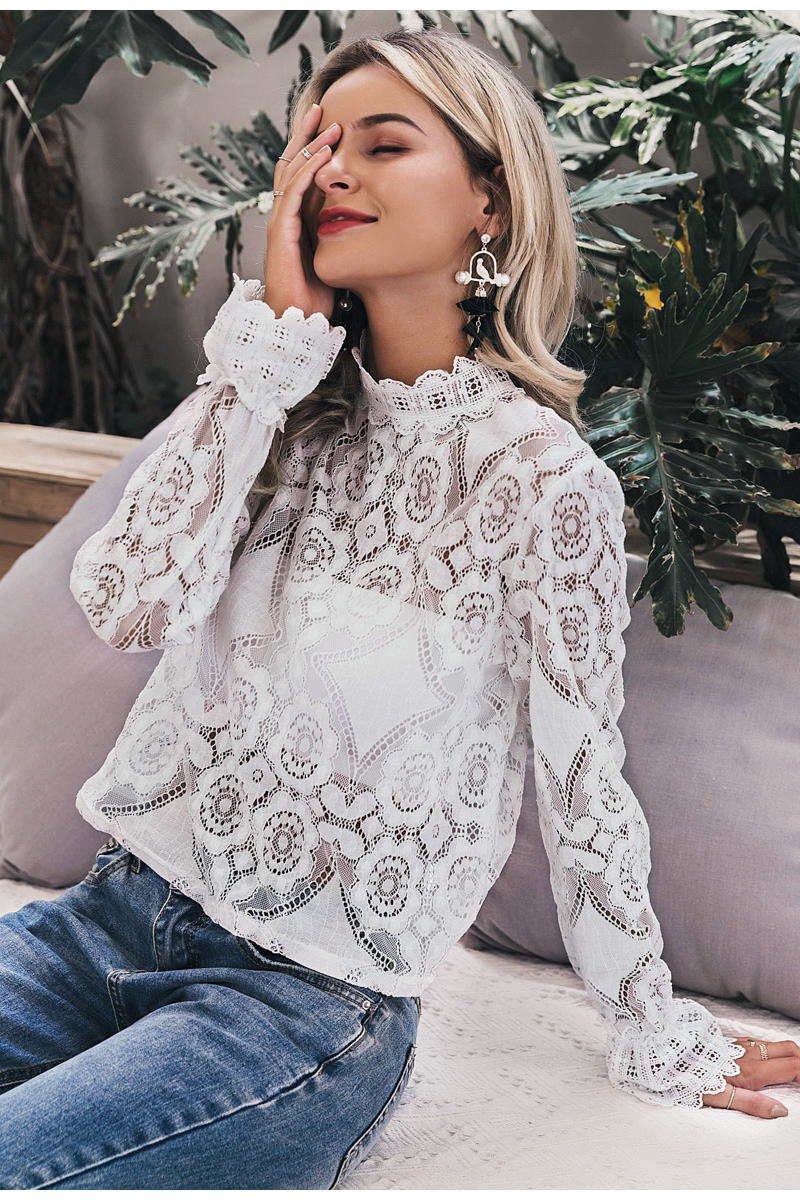 Simplee Elegant white lace blouse shirt Sexy hollow out embroidery feminine blouse Women long lantern sleeve summer tops female 8