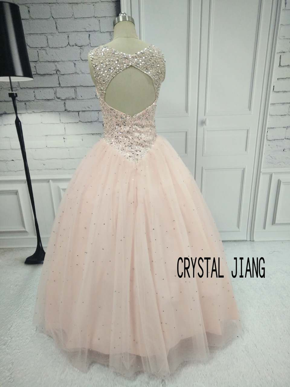 CRYSTAL JIANG Formal Ball Gown Quinceanera Navy blue Tulle Dress Custom made Heavy Beadings Bling Bling Floor Length Gowns