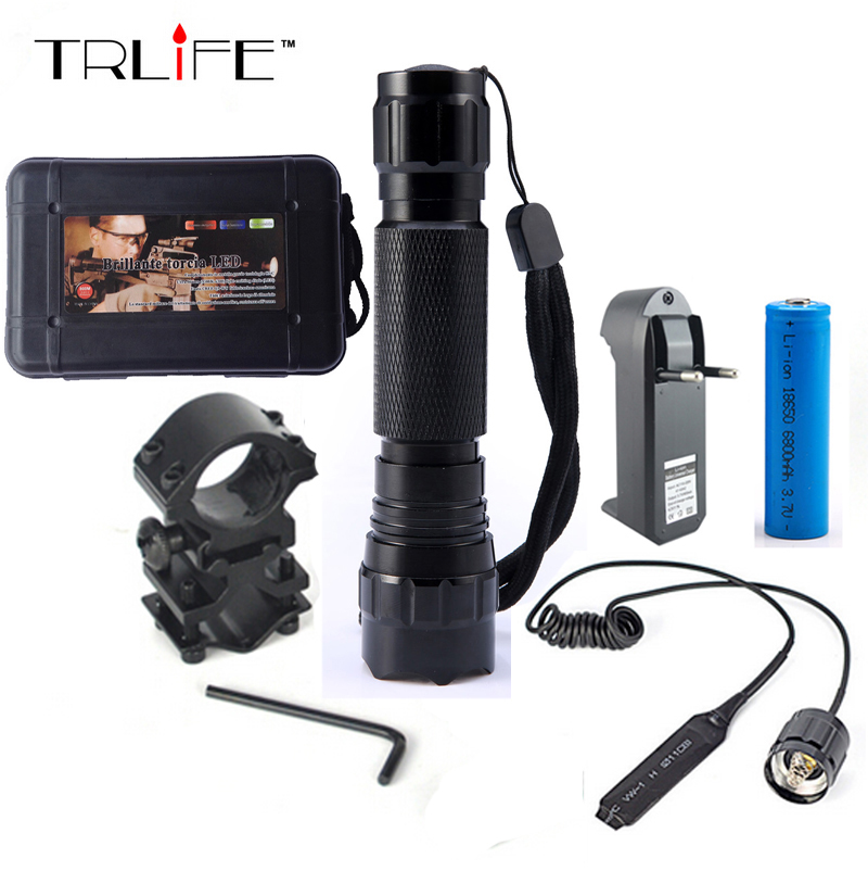 WF-501B Tactical LED Flashlight 2000 Lumens Led Torch  Hunting Light With Gun Mount and Remote Pressure Switch 502d led tactical gun flashlight handgun torch light lamp hunting torch remote switch gun mount