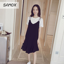 JSMY 2019 New Summer Sling Dress Female Ruffle Stitching Loose Large Size Slim