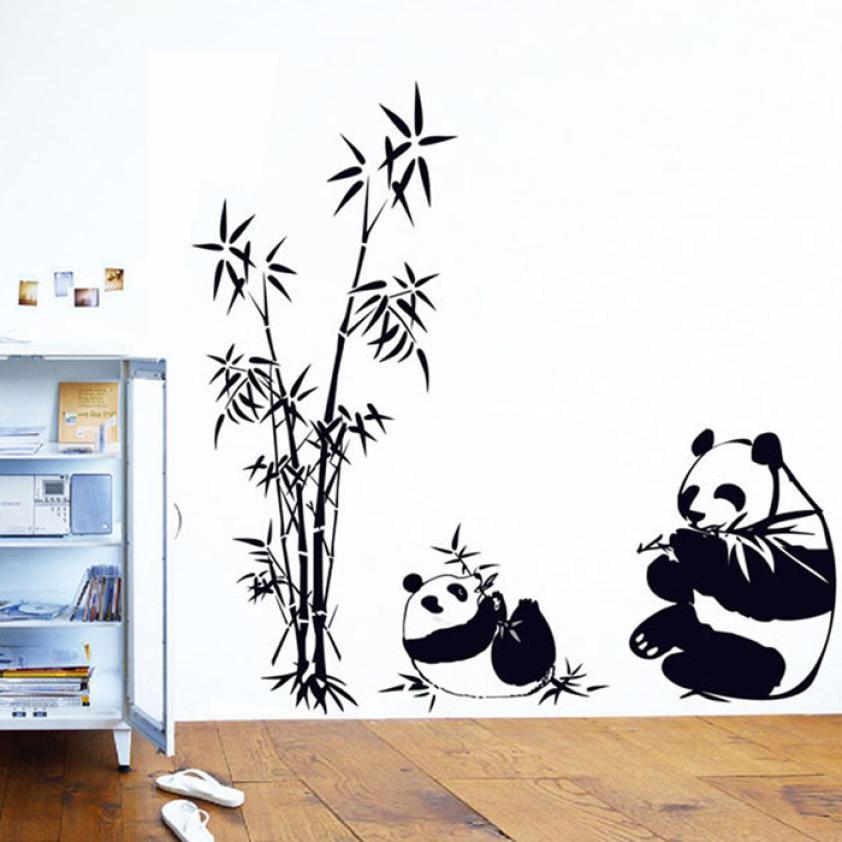 Новинка, квалифицированная Наклейка на стену «сделай сам» из натурального бамбука, панда, наклейка на стену, искусство на стену, домашний де...