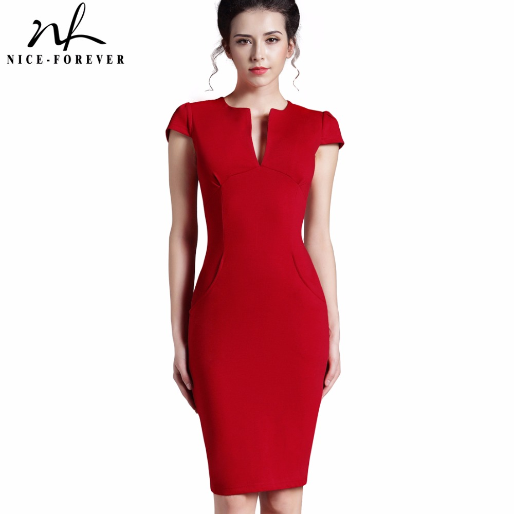 Nice-forever Office Women Vintage Summer Sólido Profundo cuello en V Zipper Back Formal Lápiz trabajo Bodycon Pocket Dress 521
