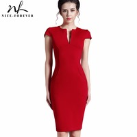 Womens Vintage One Color Red Evening Deep V Neck Puff Sleeve Formal Stretch Party Knee Length