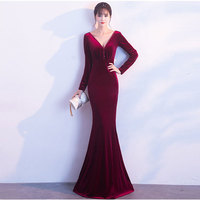 Flannel Pearl Beading V Neck Backless Full Sleeve Sexy Clubwear Dress Evening Party Elegant Long Dresses For Special Occasions