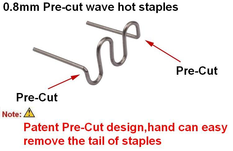 100 pcs 0.8mm Pré-Cut S Vague Agrafes pour Chaude Agrafeuse En Plastique De Réparation Pare-chocs Carrosserie/En Plastique À Souder/en plastique chaude de soudage de base