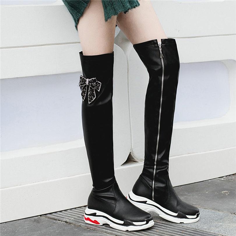 Grand black2 Équitation Le Sur Genou Chaussures Noir Med Talon Femmes Chaussons De Oxfords Black3 Bottes white3 Blanc Nayiduyun Cuisse Arbre Punk Baskets Haute black1 XZuPki