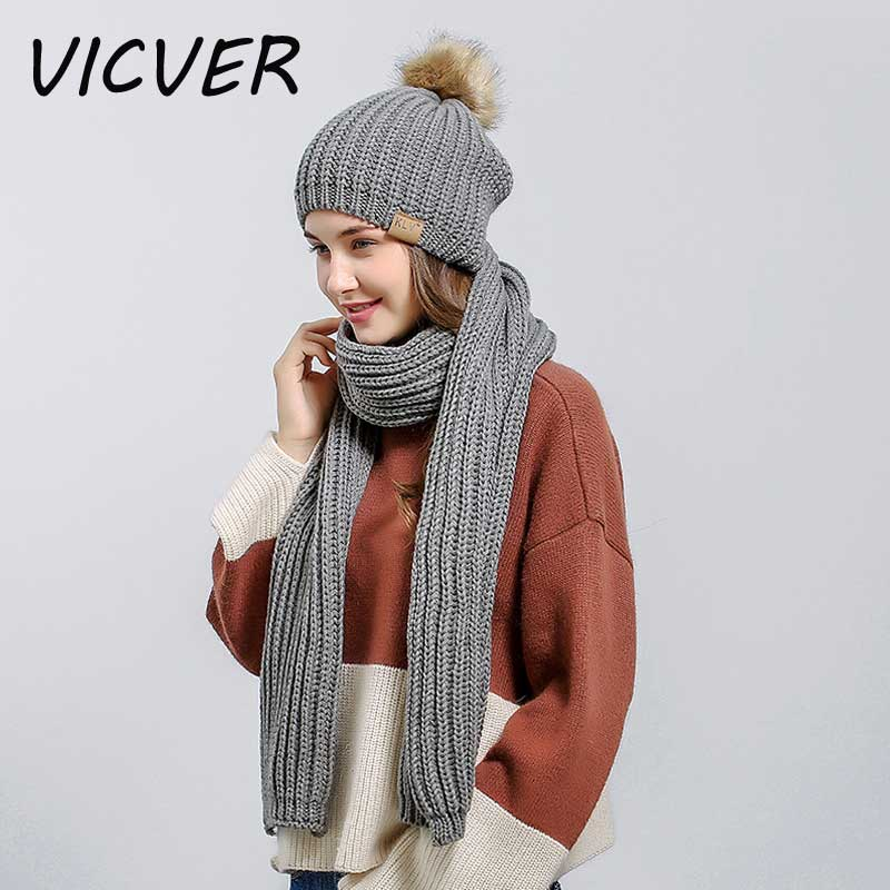 Fashion Hat Scarves Sets Women Knit Winter Hats Scarf Neck Warmer 2 Piece Female   Skullies     Beanies   Thick Warm Caps Crochet Cap