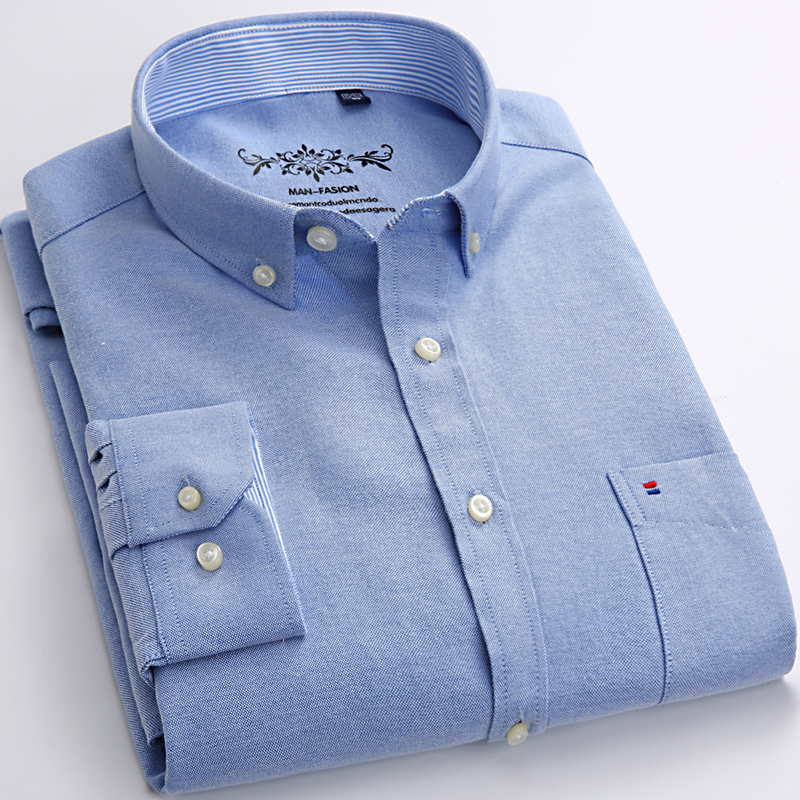 Mens Long Sleeve Solid Oxford Dress Shirt with Left Chest Pocket High-quality Male Casual Regular-fit Tops Button Down Shirts(China)