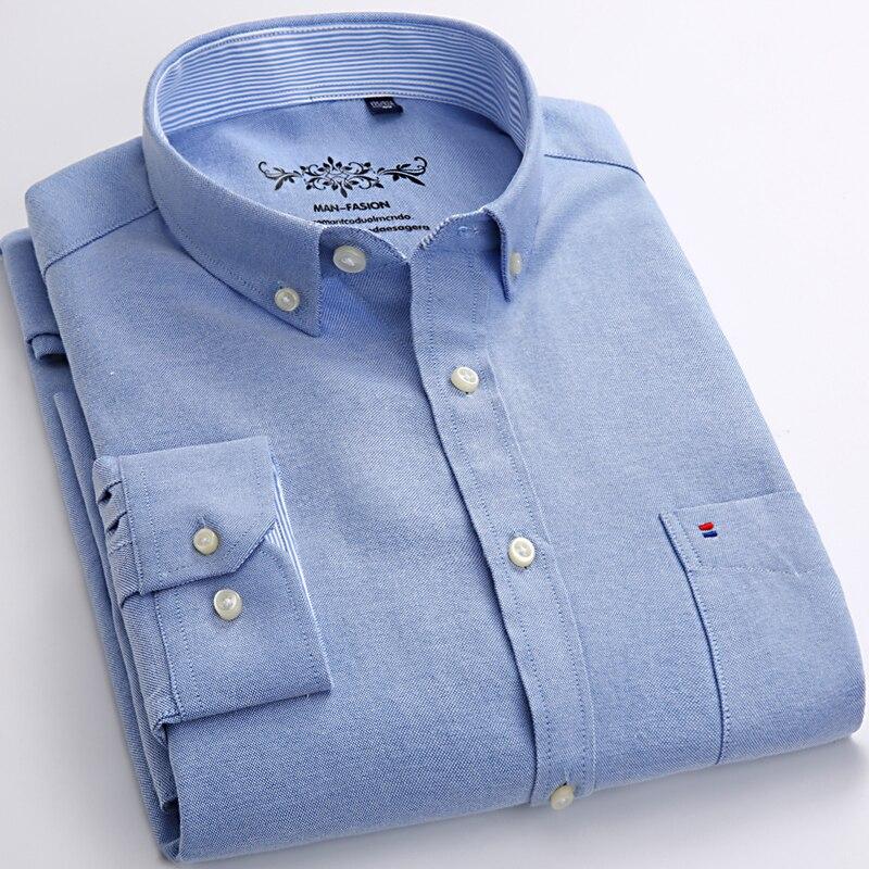 Herren Langarm Solide Oxford Kleid Hemd mit Brusttasche Links Hochwertige Männlichen Casual Regelmäßige-fit Tops Taste Unten shirts