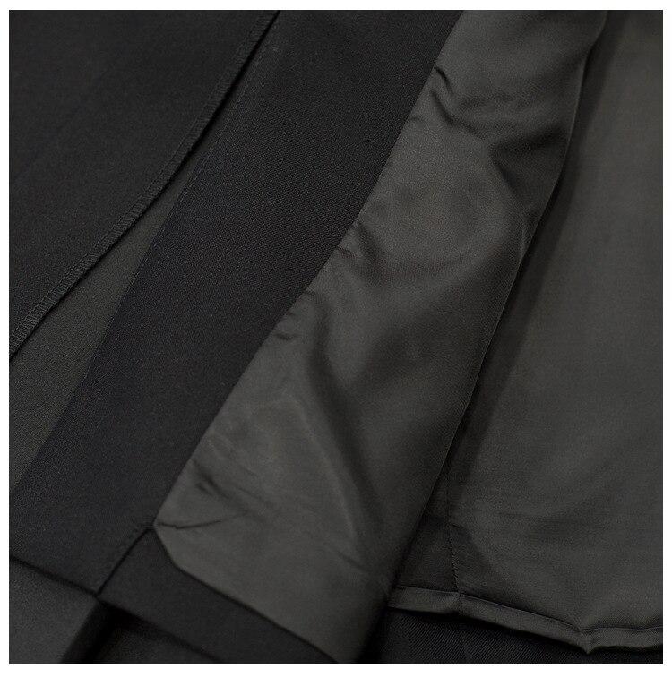 Alta qualidade 2019 início da primavera nova moda das mulheres de correspondência de cores listrado plissado hem side tie slim de manga longa pequena blazer - 6