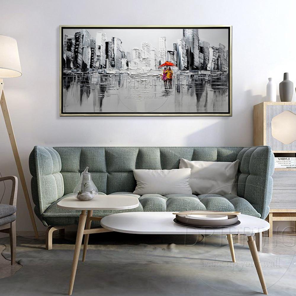 New Modern Wall Art Decor Pintura Moderna De Alta Qualidade Da Pintura A  Óleo Da Rua Da Cidade Mulheres Caminhando Sob Guarda Chuva Vermelho Pintura  A Óleo ...