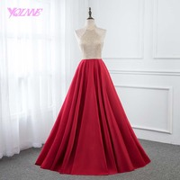 YQLNNE Red Halter Long Prom Dresses Crystals Satin Formal Evening Gown Party Dress Sleeveless