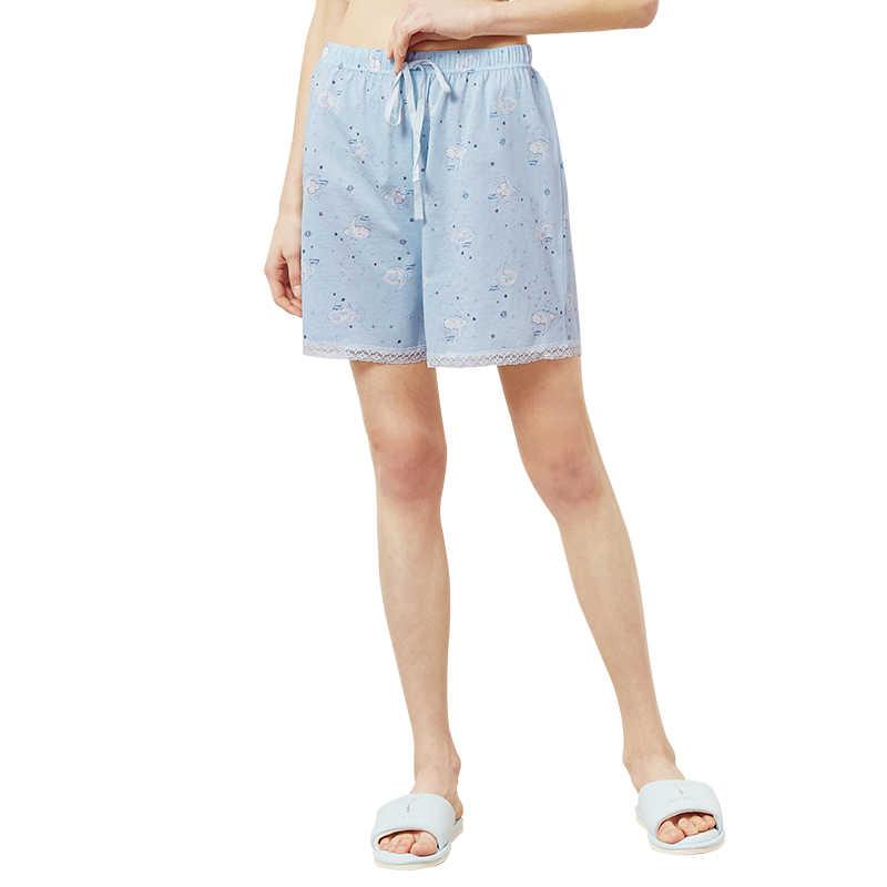 THREEGUN, шорты для сна, для отдыха, для женщин, Modis, кружевная Домашняя одежда, хлопок, свободный низ, с милым принтом мопса, пижамные штаны, эластичная резинка на талии, Новинка