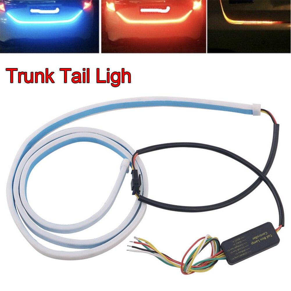 12 V 5 w RGB LED colorido Luz de Advertência fluindo LEVOU strip para mala do carro dinâmico piscas levou luz por sua vez Cauda Tronco luzes