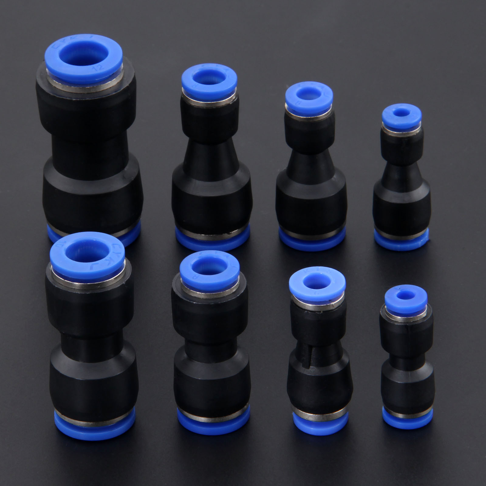 5Pcs//lot Pneumatic Fittings Push In Straight Reducer Connectors For Air Vacuum Water Hose Plastic Pneumatic Parts 7 Size 4-12mm,10mm to 6mm